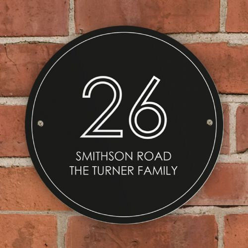 Personalised Black Number & Name House Sign